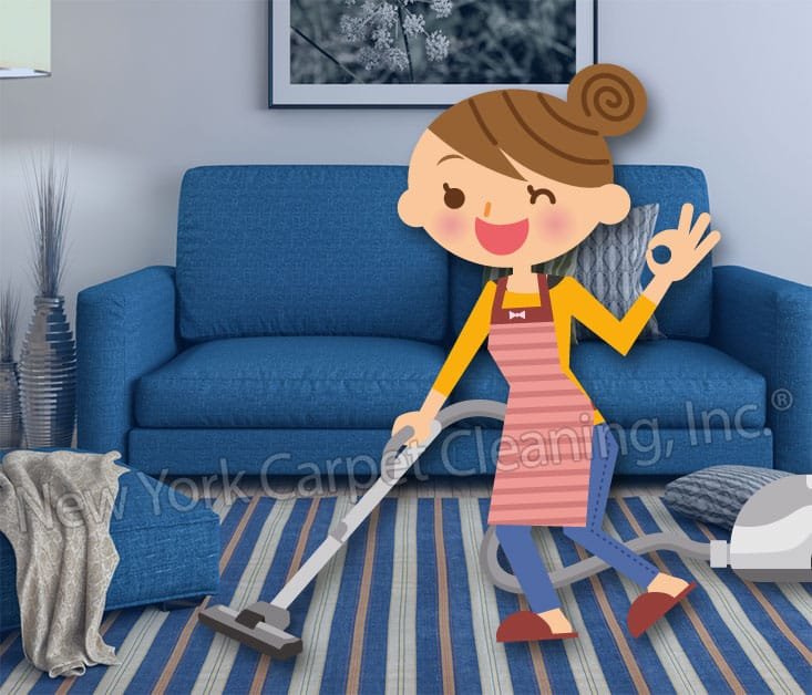 illustration of a woman cleaning carpets